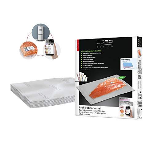 CASO Profi- Folienbeutel 40x60 cm / 25 Beutel, für alle Balken Vakuumierer, BPA-frei, sehr stark & reißfest ca. 150µm, kochfest, Sous Vide geeignet, wiederverwendbar, für Folienschweißgeräte geeignet