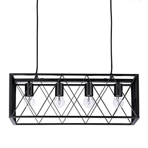 Relaxdays 10021781 Lustre Cage Métal Rectangulaire Lampe à Suspension 4 Ampoules Style Industriel Plafonnier 100x63x25 cm, Noir, 40 W, 100x63x25cm