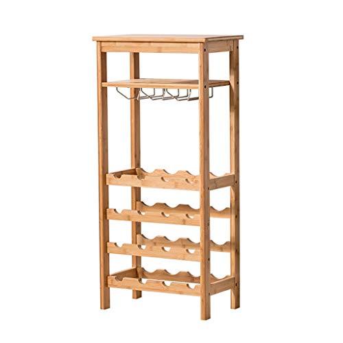 Botellero Armario bodega de almacenamiento de titular soporte estantes de gran capacidad soporte de almacenamiento for el bar de la planta del vino del hogar del gabinete de vino de madera Colocación