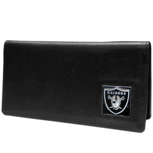 NFL Siskiyou Sports Fan Shop Las Vegas Raiders Leather Checkbook Cover One Size Black
