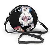 Bolso cruzado redondo para mujer Lazy Cat Zipper Bolso de hombro de cuero suave Círculo Monederos Crossbody Cartera y bolsos