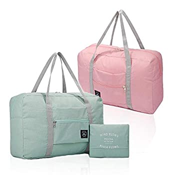 2 Pack  Foldable Travel Duffel Bag Waterproof Carry On Luggage Bag Lightweight Travel Luggage Bag for Sports Gym Vacation  Light blue & Light pink