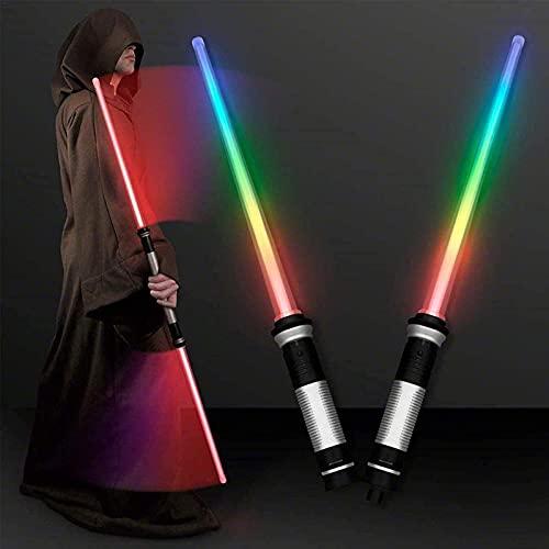2 espadas de sable de luz de doble cara, espada telescópica LED 2 en 1, juguetes de sable de luz para niños, juguete de'Star Wars', espada Skywalker con sonido y luz