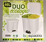 SPAZIO Cubo de Basura Papelera 46 litros ecologic 2 en 1 (Blanco)
