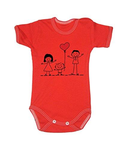 Couleur Mode Dessin Famille Amour Unisexe bodies à manches courtes 100% coton Petit bébé – 24 mois – 0016 Red tiny baby, 52 cm