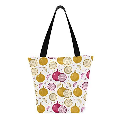 Deliciosas verduras que cebollas cortadas 11 × 7 × 13 pulgadas Monedero de poliéster resistente lavable a máquina para mujeres Bolsa de supermercado plegable reutilizable para ir de com