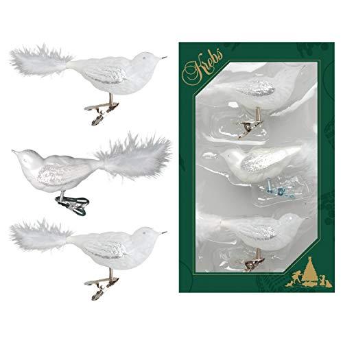 Krebs glas Lauscha - vogels op clip kerstboomversiering - glazen sieraden - set van 3 Wit & ijslak