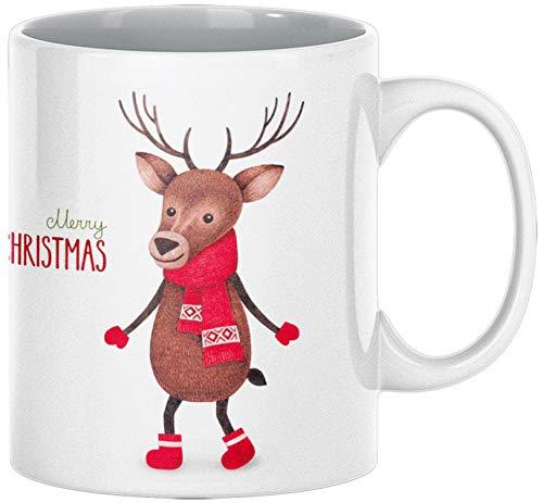 ArtUp.de Weihnachtstasse Elch Rentier - Tasse Kaffeebecher zu Weihnachten - Kaffeetasse Teetasse aus Keramik in Weiß - ca. 330 ml spülmaschinengeeignet - in Handarbeit in Deutschland Bedruckt