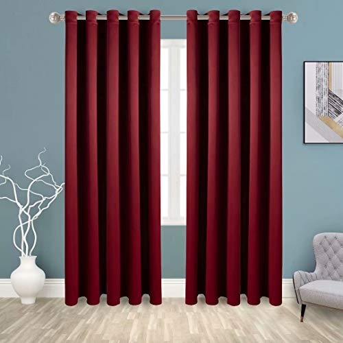 BONZER Grommet Blackout Curtains for Bedroom - Thermal Insulated, Energy Efficient, Noise Reducing and Light Blocking, Room Darkening Curtains for Living Room, Burgundy, 60 x 84 inch, Set of 2 Panels