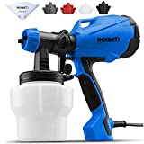 REXBETI Paint Sprayer, HVLP High Power Home Electric Spray Gun, Lightweight, Easy Spraying and Cleaning, 5-Piece Paint Strainers, 4 Nozzles, Blue