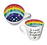Taza con texto en inglés 'Be Kind Be Anything Rainbow Inside Out en caja de regalo' ISO170