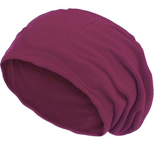 style3 Slouch Beanie aus atmungsaktivem, feinem und leichten Jersey Unisex Mütze Haube Bini Einheitsgröße, Farbe:Dark Berry meliert