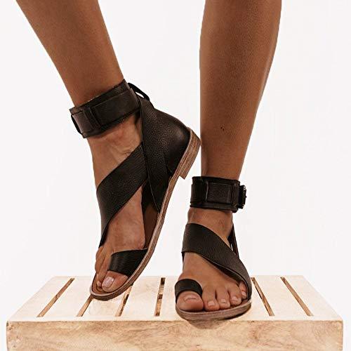 LLGHT Sandalias de Mujer Chanclas Planas, Sandalias de Gladiador Zapatos Romanos, Sandalias Ortopedicas y Transpirables Pulgar Valgus, Bohemia Playa Verano (Size : 42)