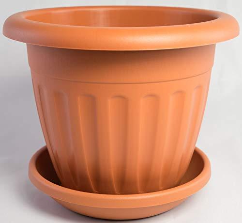 Pflanzkübel AZTEKI mit passendem Untersetzer in versch. Farben und Größen, Farbe:Terracotta, Durchmesser:50 cm