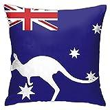 DRXX Fundas de Almohada, Fundas de Almohada cuadradas de Canguro con Bandera Australiana para sofá, Fundas de Almohada para Coche, Funda de cojín de 45 * 45 cm