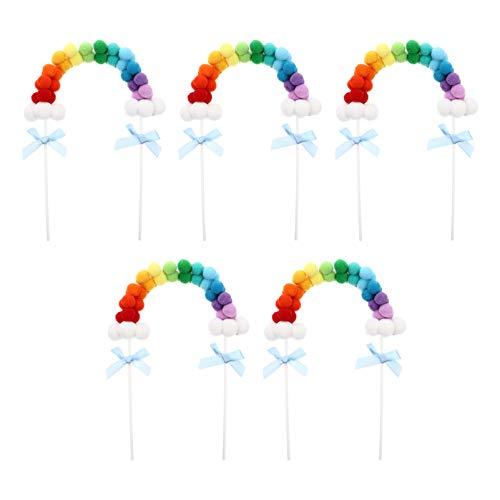 KESYOO 5Pcs Rainbow Cake Topper Bola de Lana Pom Pom Cupcake Toppers...