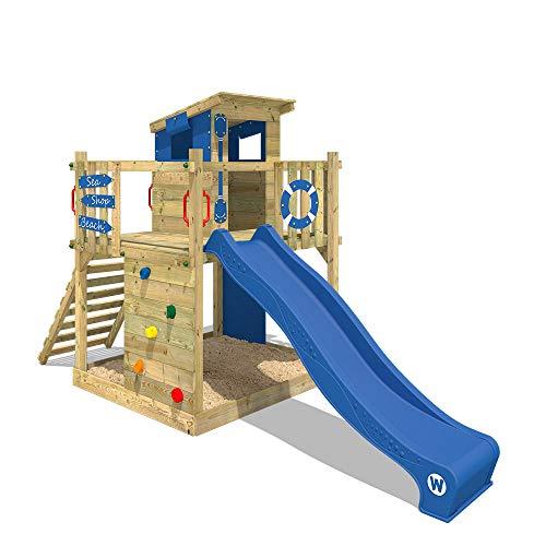 WICKEY Spielturm Klettergerüst Smart Pier mit blauer Rutsche, Baumhaus mit Sandkasten, Kletterleiter & Spiel-Zubehör