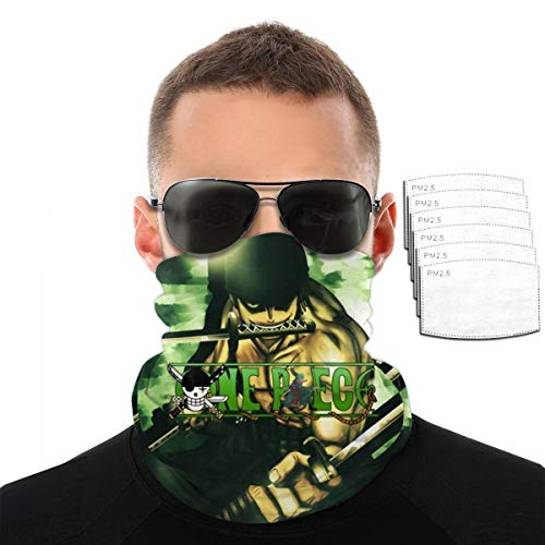 Men Women UV Protection Neck Gaiter Tube Face Scarf, Windproof Cold Protection Japanese Anime One Piece Roronoa Zoro Balaclava Headscarves, Magic Face Cover Bandana for Hunting Motorcycle Fishing