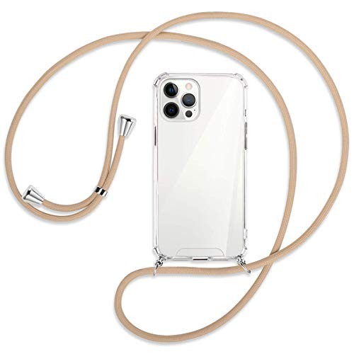 mtb more energy Collar Smartphone para Apple iPhone 12 Pro MAX (6.7'') - Beige - Funda Protectora ponible - Carcasa Anti Shock con Cuerda Correa
