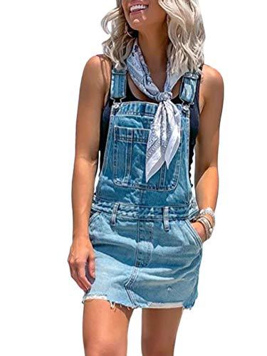 Onsoyours Damen Latzhose Hotpants Short Kurze mit Hosenträgern Hot Pants latzjeans 5 Größen B Blau 38