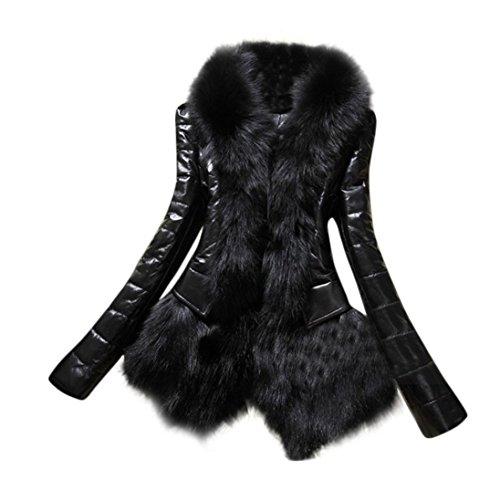 Tsmile Autumn Winter Fashion Women Faux Fur Collar Coat Parka Overcoat Warm Leather Thick Jacket (2X-Large, Black)