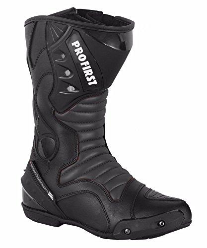ProFirst Split Leder Wasserdicht Motorrad Motorrad Gepanzerte Stiefel Stiefel Schuhe Anti-Rutsch Rennsport | Schwarz / Black, EU 43 - 6