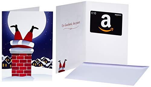 Amazon.de Geschenkkarte in Grußkarte - 10 EUR (Weihnachtsmann im Kamin)