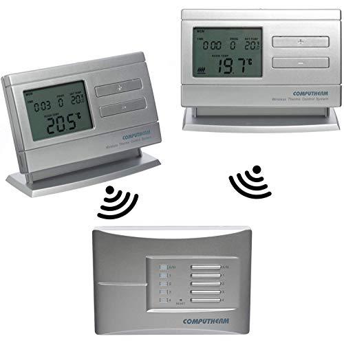 COMPUTHERM Q8RF Multi-Zone: 2 x digitale, programmierbare Funk-Thermostate, 1 x Empfänger, leitungsfrei & mobil für Heizung, Klimaanlagen & Fußbodenheizung, kabelloser Raum-Temperaturregler