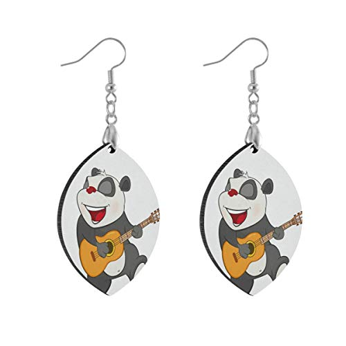 Leaf Earring Panda Guitar White Fashion Earrings Women Girls for Valentine's Day Double Layered Lightweight