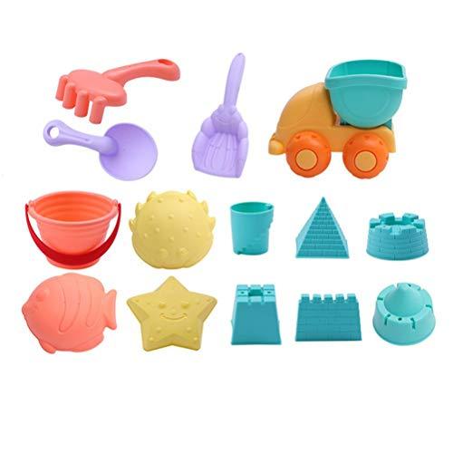 FreshWater Juego de juguetes arena playa 14 piezas, juguete para niños, cubo la rueda agua, juego herramientas pala playa, kit construcción castillo