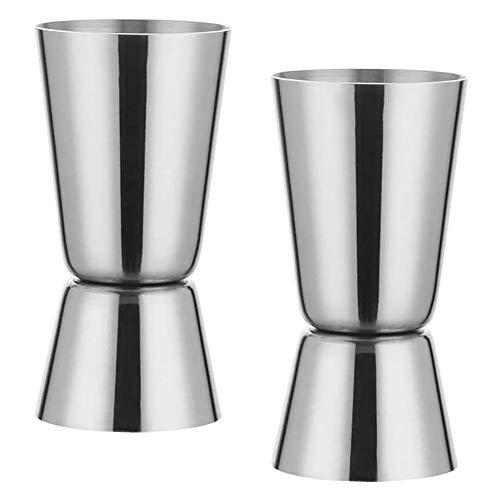 Vaso medidor,2 tazas medidoras de acero inoxidable para cócteles,tazas medidoras de alcohol de 25/50 ml,para bar,fiesta, vino,cóctel,bebida,medida