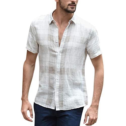 Yowablo Shirt Herren Kurzarm Baggy Cotton Linen Plaid Kurzarm Button Retro Umlegekragen Shirts (M,Weiß)