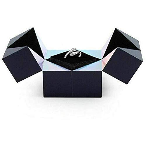 BSOA Caja de Anillo giratoria de Cubo, Joyero de Rubik, Caja de Anillo de Regalo Plegable, Caja de Colgante de Collar de Pulsera de Anillo de propuesta, Caja de joyería de Boda Sorpresa de Matrimonio