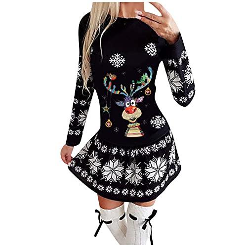 Vestidos de Navidad de Fiesta Largos Noche Mujer Elegantes Ajustados Impreso de Alce Navideño Sexy Casual Estilo Corto Vestido 2021 Otoño Invierno Nuevo Talla Grande Mini Falda Vintage Suéter