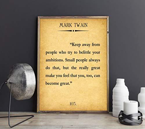 Rac76yd Póster de libro grande con cita de Mark Twain, póster literario de Mark Twain Ambiciones y cita de...