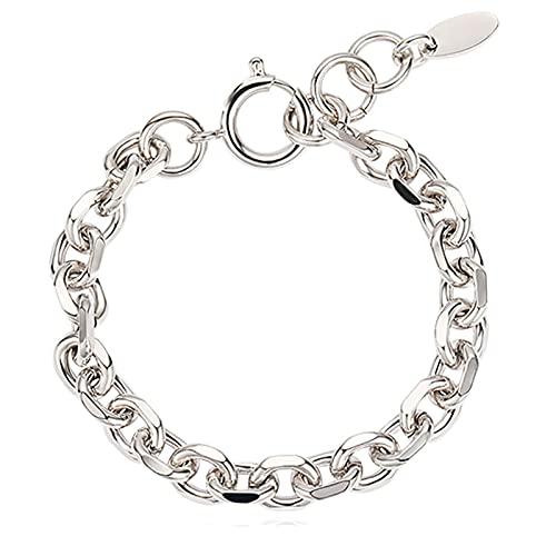 APCHY Pareja De Metal Pulsera De Cadena Gruesa Hombres Y Mujeres Hip Hop Fashion Silver Simple Chain Jewelry para La Amistad Día De La Madre Novia Regalo De Cumpleaños Y Día De San Valentín,Men,18cm