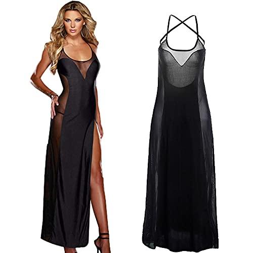 ASDFSADF Vestido de Mujeres Vestido de Noche Vestido Transparente Vestido Sexy Dama más tamaño íntimo Ropa Interior Vestido de Encaje Vestido de Dormir g Cadena-Negro_XXL