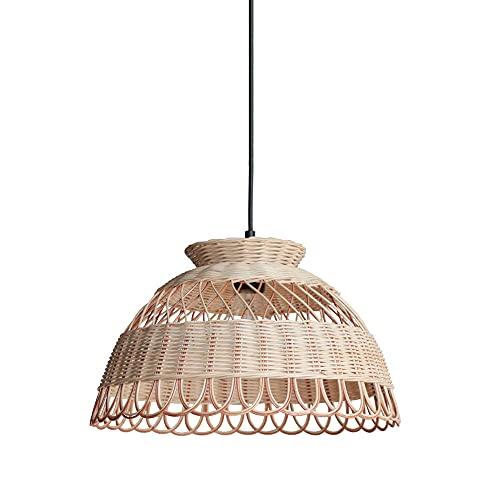 NAMFHZW Lámpara colgante de pantalla tejida de ratán E27 Edison Lámpara colgante de techo semiempotrada de una sola cabeza Lámpara colgante para dormitorio Estudio Comedor Bar Iluminación decorativa —