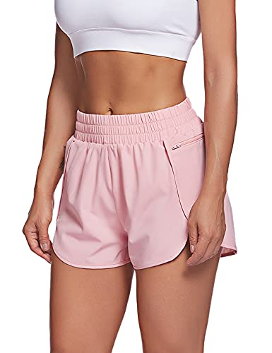 LaLaLa Womens Elastic Waist Spandex Running Shorts with Pocket Sport Workout Yoga Gym Shorts with Liner (L, Pink)