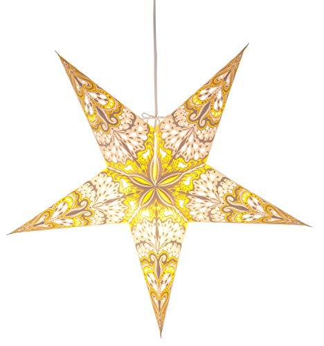 Star Papierstern, 5-zackig ohne Kabel, Geschenkbox, Durchmesser 60 cm, weiß/gelb 500-36