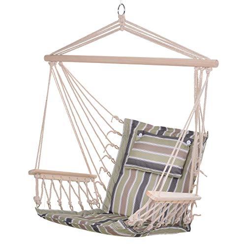 Outsunny Chaise Suspendue hamac de Voyage Respirant Portable dim. 100L x 49l x 106H cm Coton macramé Polyester Multicolore rayé