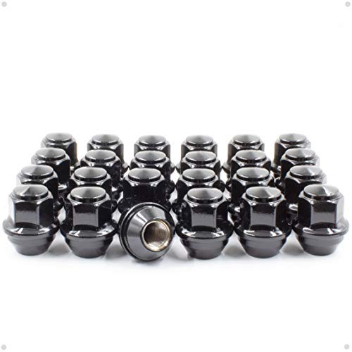 Wheel Accessories Parts Set of 24 Black 12x1.5 Lug Nuts OEM Style fit Ford...