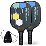 Pickleball Set, Pickleball Paddles, Pickleball Paddle Set of Two, Square Indoor Pickleball with Pickle Bags as Pickleball Gifts for Women Men Beach Ball Game Outdoor