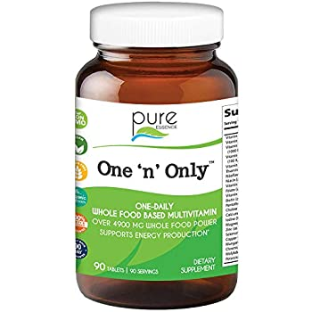 One n Only Whole Food Multivitamin by Pure Essence - Super Energetic Once a Day with Superfoods Minerals Enzymes Vitamin D D3 B12 Biotin - 90 Tablets