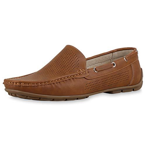 SCARPE VITA Herren Slippers Bootsschuhe Mokassins Cut Outs Schlupfschuhe Flats Leder-Optik Schuhe Slip Ons Profilsohle 177227 Hellbraun Braun 42