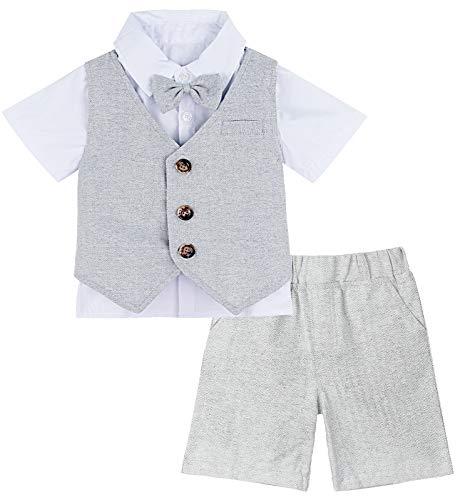 mintgreen Conjunto de Camisa Bebé Niño Caballero Traje Fiesta, 4-5 años, Gris Claro (Tamaño del Fabricante: 120)