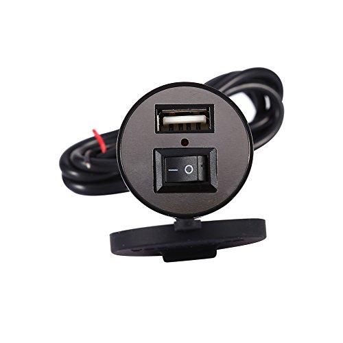 Cargador de vehículo eléctrico de motocicleta de 12V con interruptor, Keenso impermeable...