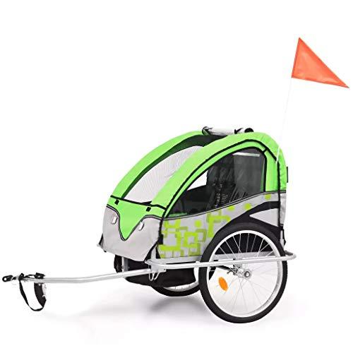 CFG Fahrrad-Buggy, Baby-Kinderwagen, 2-in-1-Kinderfahrradanhänger, 2-Sitzer, Kinder-Buggy, faltbarer Kinder-Fahrradanhänger für 2 Kinder, mit Federung