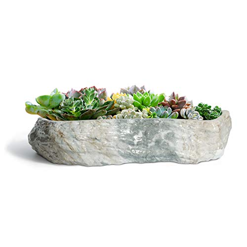 T4U Succulent Pot Ceramic 24CM Rectangle Marbling Irregular, Faux Rock Style Plant Bowl Large Cactus Planter Porcelain Herb Bonsai Container Indoor Outdoor Use for Home and Office Decoration Gift