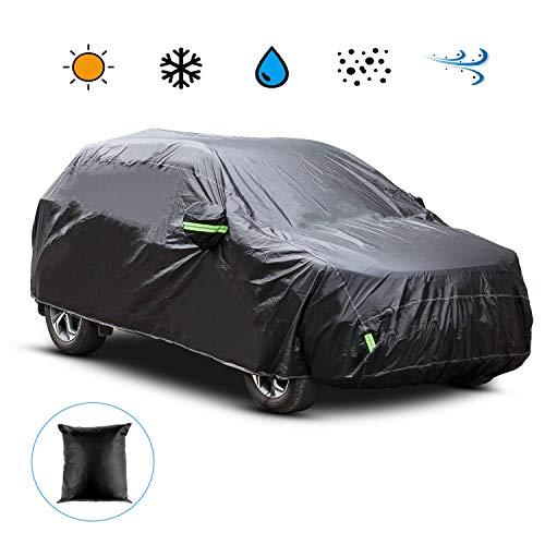 Homdox Funda para Coche Exterior Negra para SUV Impermeable Resistente al Sol, Polvo, Viento, Lluvia, Anti-UV, Nieve y Rasguño Cubierta del Coche